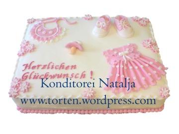 Torte zur Geburt 25x35cm. in rosa mit Zuckermasse überzogen und